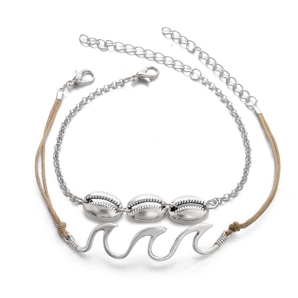 Shell Wave Anklets Foot Chain Multilayer Silver Shell Ankle Bracelet Beach Anklet Deisgner Beach Jewelry for Women