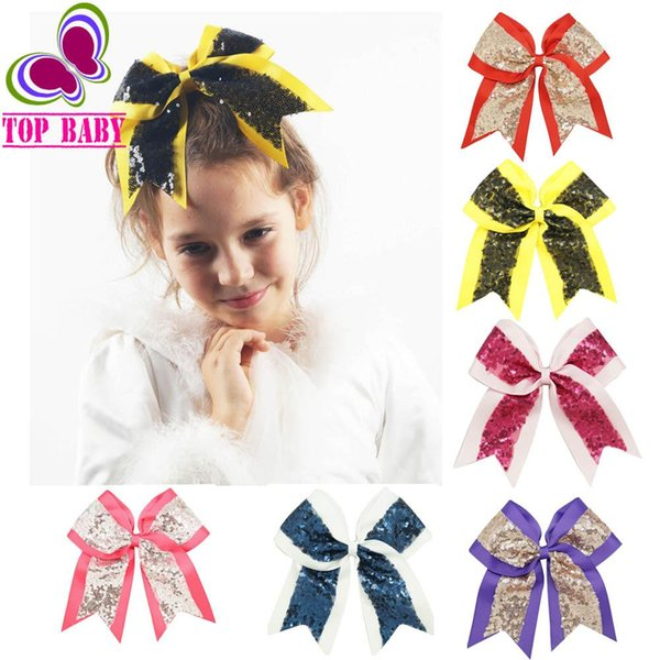 7/'/' Child Girls Large Cheer Bow Hair Cilps Rhinestone Cheerleading Accessories