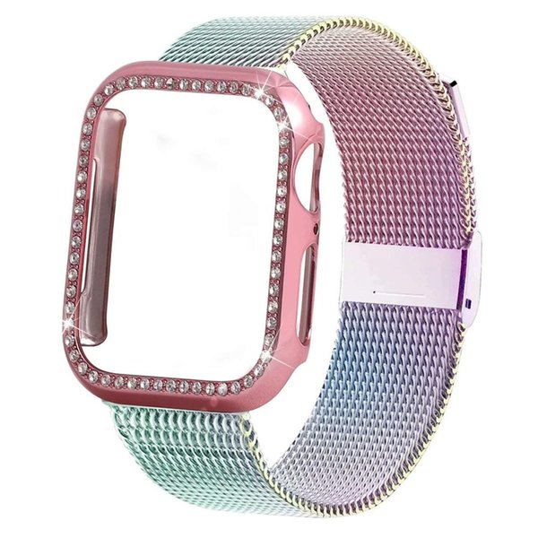 Bling Case+strap band 44 mm 40mm iWatch band 42mm 38mm stainless steel bracelet Milanese loop Apple watch 4 3 21