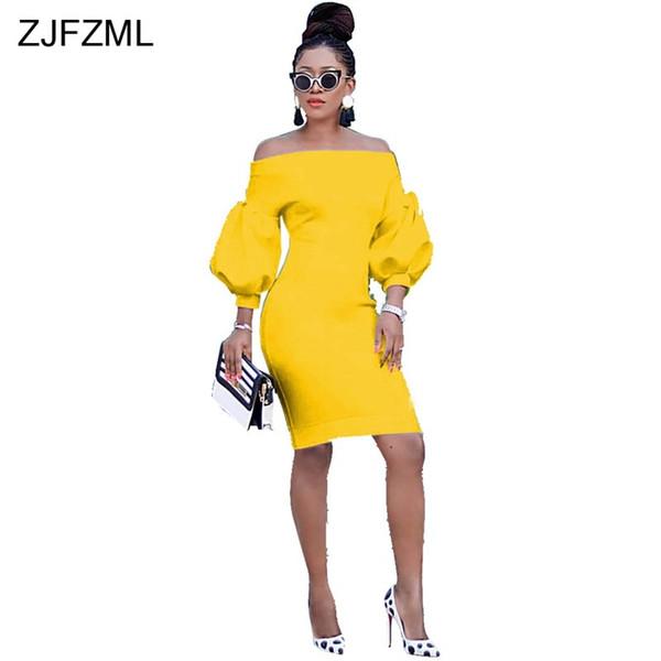 Long Lantern Sleeve Elegant Pencil Dresses Women Slash Neck Off The Shoulder Package Hip Dress Sexy Backless Slim Fit Robe Femme