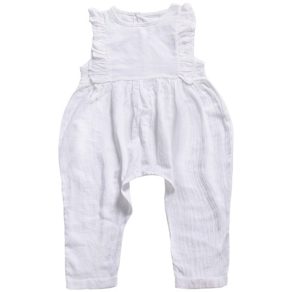 Infant White Solid Baby Girls Rompers Pants Children Girls Clothing Outfit Pink Yellow Color Toddler Sleeveless Belt Baby Girls Overalls