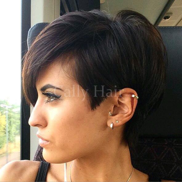 Großhandel Birmanisches Haar Pixie Cut Frisur 100 Brasilianische Menschliche Kurze Gerade Schwarze Haarperücken Mit Pony Für Afrikaner Schwarze