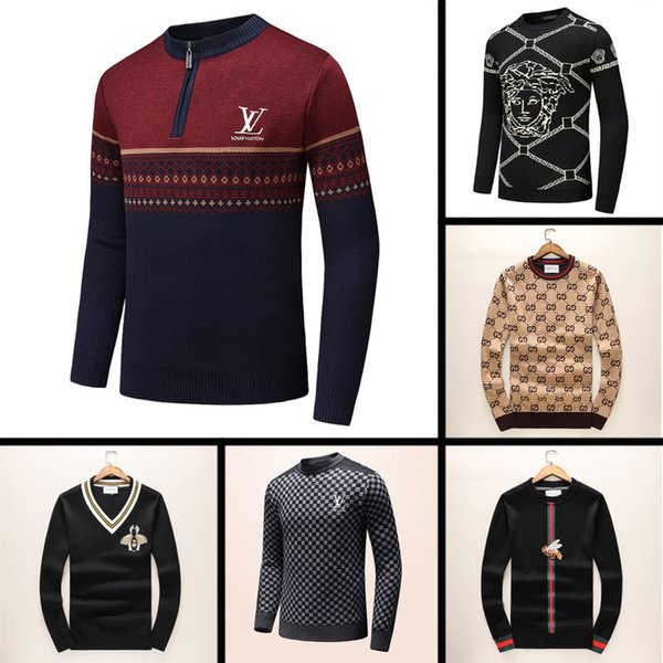 top popular 2019 New Latest Designer Autumn Winter Mens Sweater classic Fashion Pullover Men Brand Crew Neck Clothing high quality with 5 size a 2019