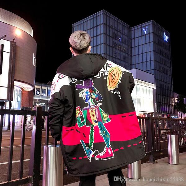 Зима граффити куртки Хлопок Куртки Hombre ветровки мужские Куртки мужские хлопковые куртки и пальто