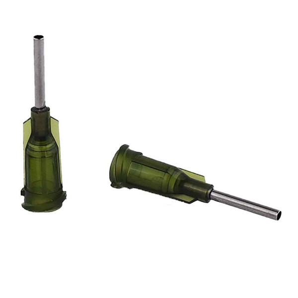top popular wholesale 14G W  ISO standard Dispensing needles PP luer lock hub 0.5-inch tubing length precision S.S. dispense blunt tips 2021