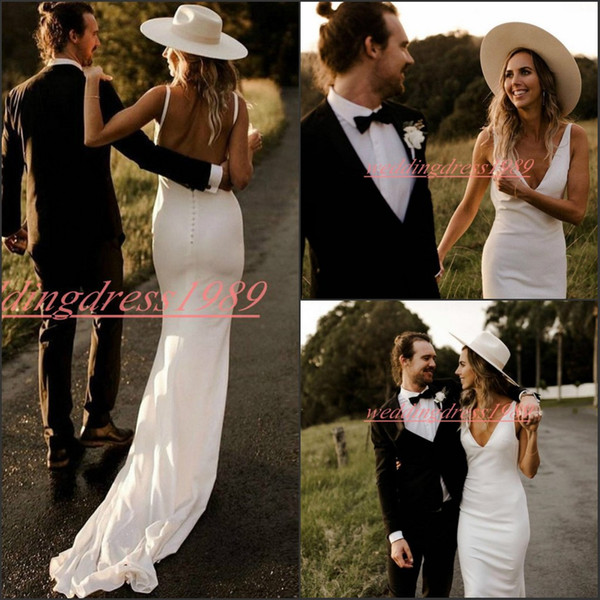 Simple Beach Open Back Mermaid Wedding Dresses V-Neck Backless Fitted Garden Bride Dress african Boho Country Bridal Gown Formal Wear Custom