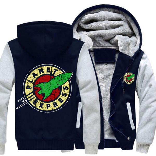 winter Hoodies Planet Express Thicken Men women Warm autumn clothes sweatshirts Zipper jacket fleece hoodie
