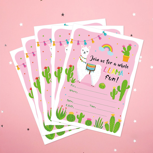 Baby Shower Kawaii Alpaca Cactus Theme Party Invitations Cards Decorations Cartoon Paper Party Invitations Favors Greeting Card Business Greeting Card