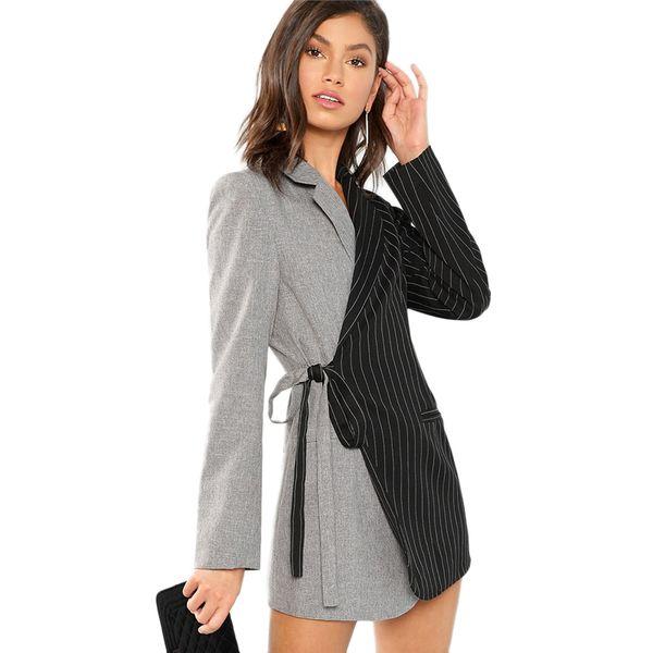 Sonbahar Kadın Blazers Ve Ceketler Colorblock Kravat Bel Surplice Wrap Bayan Blazer Çentikli Giyim Bayanlar Uzun Coat