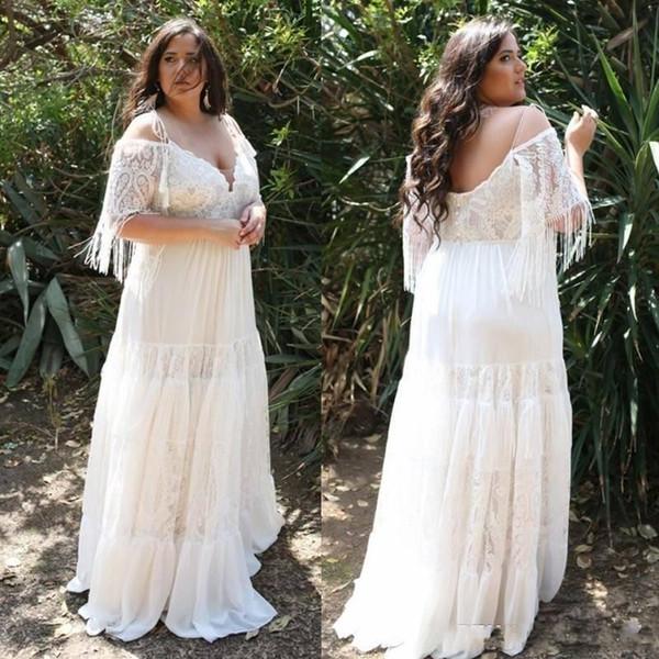 Vestidos de novia bohemios de talla grande de 2020 Vestido de novia de playa de borla de gasa de encaje con hombros descubiertos Vestidos de novia robe de mariée