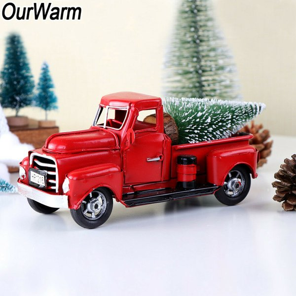 Old red metallic Christmas decorations truck toy car children gifts for Christmas table decorations