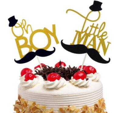 Cake Toppers Oh Boy Little man Moustache Cupcake Topper Cake Flags Kids Birthday Wedding Bride Party Baby Shower Baking DIY Xmas