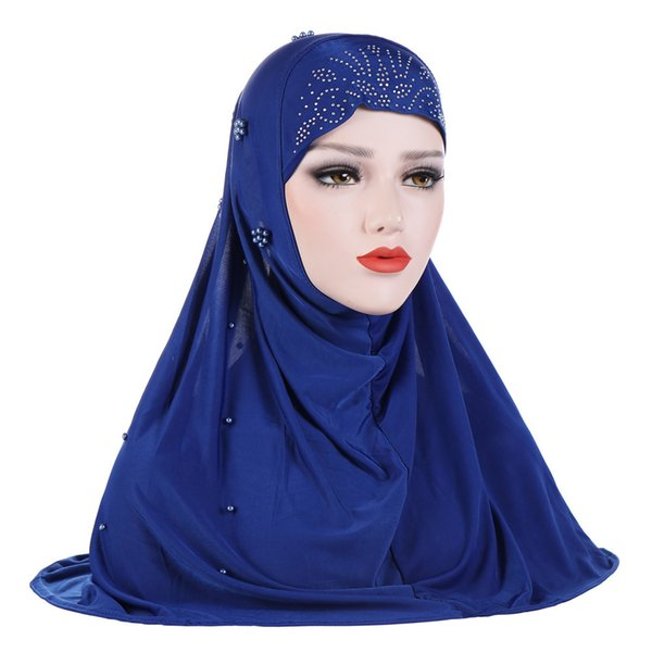 2018 Muslim New Pattern Ice Silk Nail Pearl Baotou Will Hat Amazon Ma'am Patch Hijab Goods In Stock