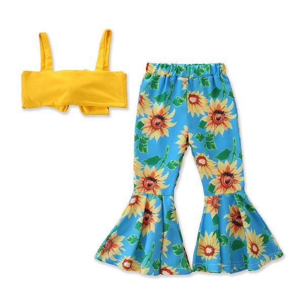 Set di abbigliamento per bambini nuovi estivo da bambina con fasce a fiocco giallo estate + completo di pantaloni svasati floreali di girasole