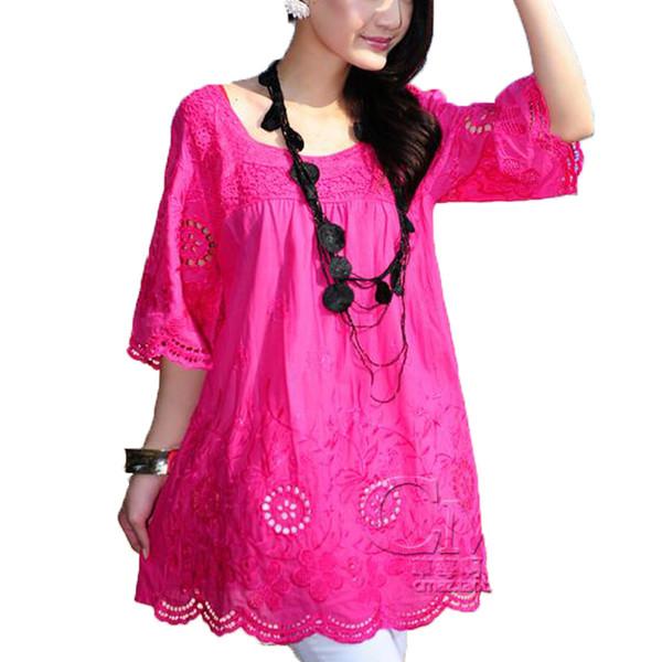 Nuevo estilo de verano 2017 bohemio bordado de algodón mujeres blusas de verano blusa feminina mujeres camisas camisa feminina Plus