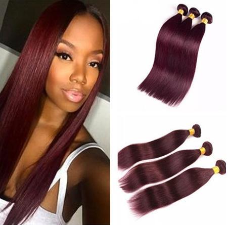 Brazilian Wine Red Silky Straight Human Hair 3 Bundles Burgundy 99J Virgin Hair Extensions Burg Color