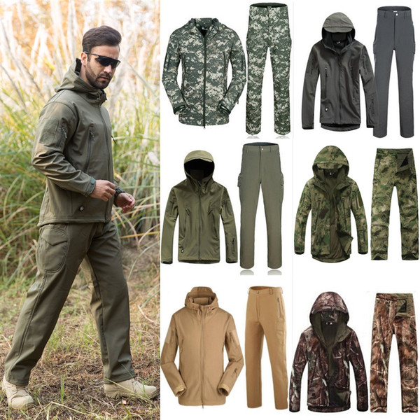 1set men winter hunting ghillie suit army soft shell fleece jackets + pants for tactical hiking hunting fishing clothes thumbnail