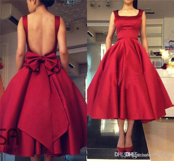 Cheap Red Puffy Skirt Homecoming Dresses 2019 Backless Evening Gowns Tea Length Cocktail Prom Gowns With Big Bow Back Evening Dresses