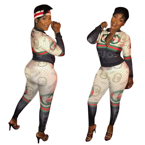 S-XXL diseñador de las mujeres de Clubwear chándales de los pantalones sudaderas con capucha de la chaqueta + de las polainas de 2 pedazos de Calle Marca traje de raya remiendo Sweatsuit C6309
