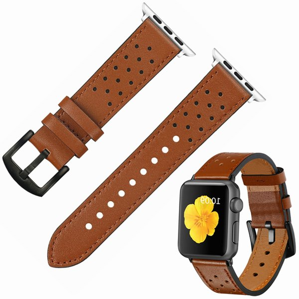 100% Genuine Leather for Apple Watch 4 40MM 44MM Band Strap for iwatch Series 4 3 2 1 Brown Black Spots 42MM 38MM for iwatch