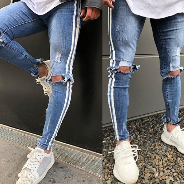 NEW Men's Knee Hole jeans Autumn Explosion Sports slim Trousers men's European and American feet pants