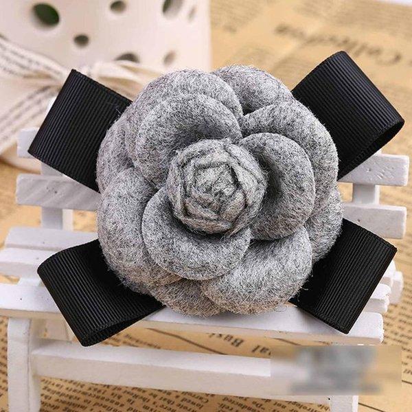 Grey Wool Bow