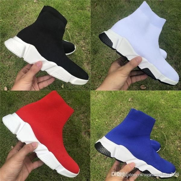 1 maille stretch haute vitesse Paris formateur occasionnel chaussures chaussette fond plat respirer Plateforme de luxe de la mode des femmes des hommes Sneakers Bottes