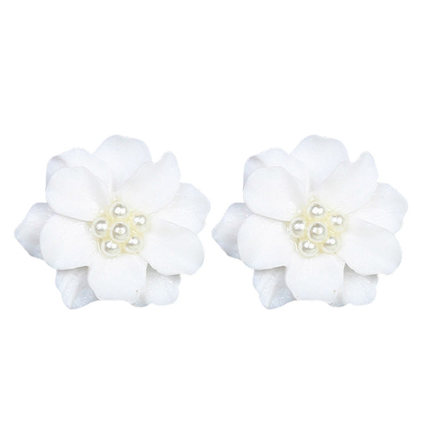 Cute Lovely White Flower Pearl Pendant Circle Stud Earrings Fashion Design Beautiful Special Accessories For Women Girl Jewelry