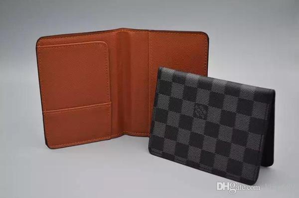 Excelente Calidad de bolsillo organizador NM hombres y mujeres damier pasaporte de cuero real de las carpetas bolsas titular de la tarjeta monedero de identificación de la carpeta con la caja plegadizas