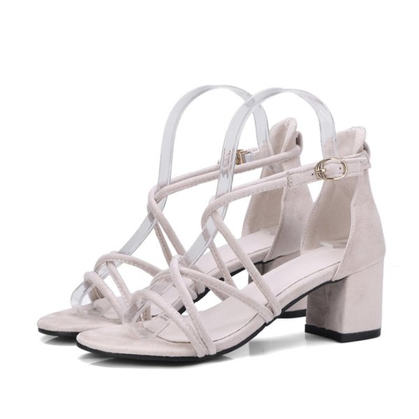 Fashion Casual Womens Ladies Summer Open Toe Chunky Heel Buckle Sandals Ankle Strap Shoes Size FS-S1192