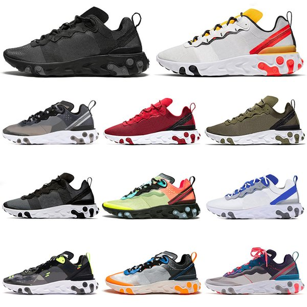 Nike 2019 React Element 87 55 Undercover Uomo Donna Running Shoes Verde Nero Designer Sneakers Sport Uomo presto Trainers Chausseures 36-45