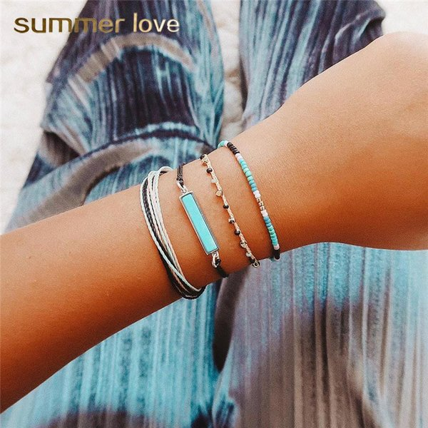 4 Pcs/set Bohemian Blue White Handmade Multilayer Wax Rope Woven Bracelet For Women Blue Square Beaded Personality Charm Bracelet Jewelry