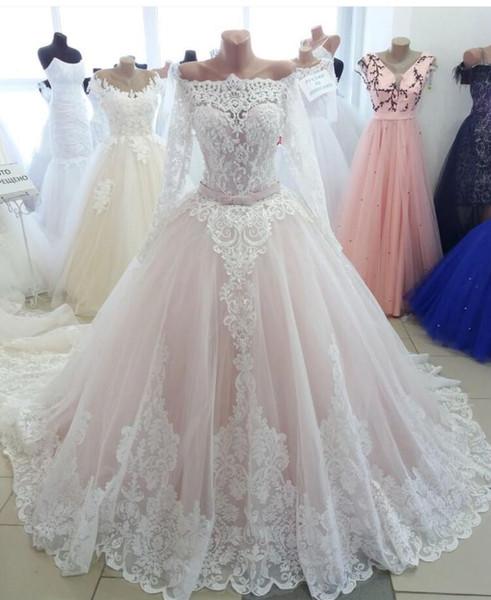 2020 Nuevo vestido de fiesta Vestidos de novia Árabe Dubai Oriente Medio Novia Túnicas Manga larga Rosa Vintage Puffy Lace Vestido de novia robe de mariage