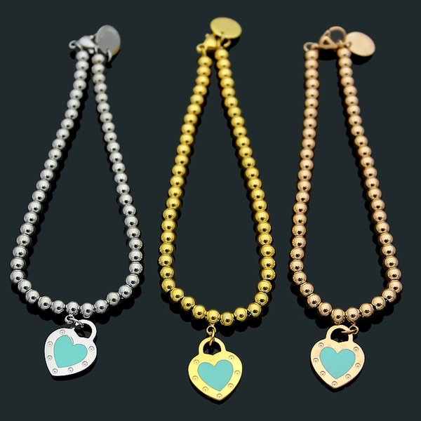 Love bracelet titanium steel jewelry T letter new round nail green heart bracelet 18K gold-plated ladies ball chain heart-shaped bracelet