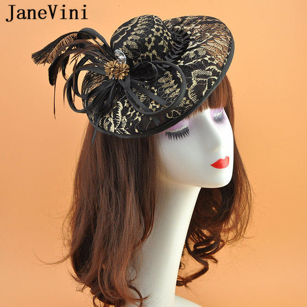 JaneVini Vintage Black Gold Lace Wedding Hats with Flower Feather Fascinator for Bridal Headwear Women Wedding Hair Accessories Tocado Novia