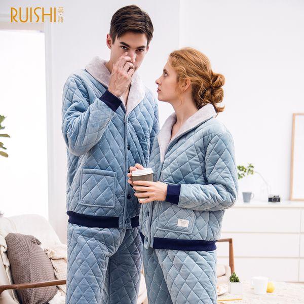 Matching Set Couple Night Suits Men and Women Thick Pajamas Sets Winter Sleepwear Home Wear Warm Pajamas Couple Matching