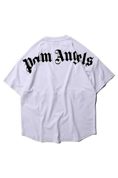 2019 Summer Palm Angels Oversize t shirt women men Best Quality Patchwork Top Tee Hip Hop Cotton Palm Angels T-shirt 4 colors