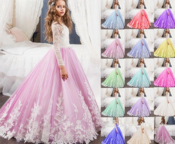 Little Girl Kids Clothing Party Prom Birthday Dress Tulle Flower Girl Kid Pageant Dance For Formal Wedding Occasion Ball Gown Princess