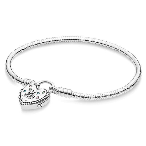925 sterling silver Pandora fantasy world castle heart-shaped bracelet buckle bracelet pendant suitable for beads charm jewelry 16cm