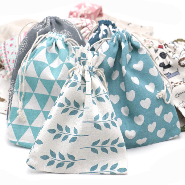 Chinese Style Printed Cotton Bag 15*20cm Jewelry Packaging Bag Christmas Candy Gift Storage Pouches Can Custom