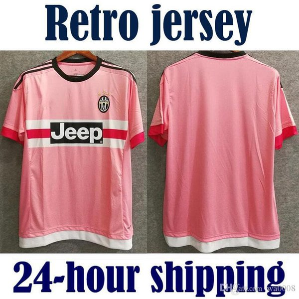 2015 2016 retro Juventus Juve futbol formaları pembe Serie Bir tay kalite 15 16 özel PIRLO DYBALA 21 futbol gömlek Coppa İtalyan