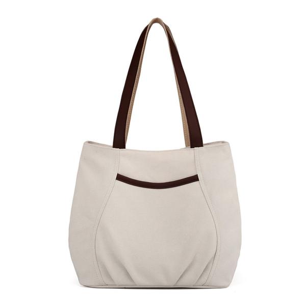 2019 New designer women canvas shoulder bag big capacity tote bag for girls shopping solid color elegance practical bag for school travel an