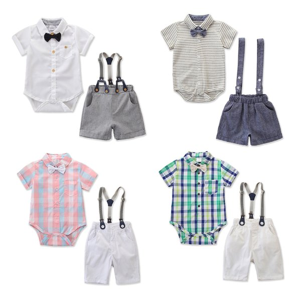 Kleinkind Baby Boy Gentleman Outfits formale Party Kleidung Plaid Bow T-Shirt Top Strampler + Trägerhose Overalls Kinder Kleidung Set 0-24M