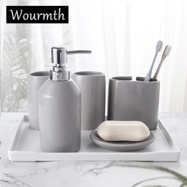 Wourmth 5pcs Ceramic Bathroom Washing Sets Of Home Decoration 5 Color Simple Soap Dish Toothbrush Holder Hand Soap Full Set Y19061804