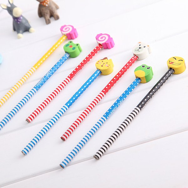 1PC Stationery Supplies Kawaii Cartoon Removable Eraser Standard Pencils for Office School Kids Prize Writing Drawing Pencil
