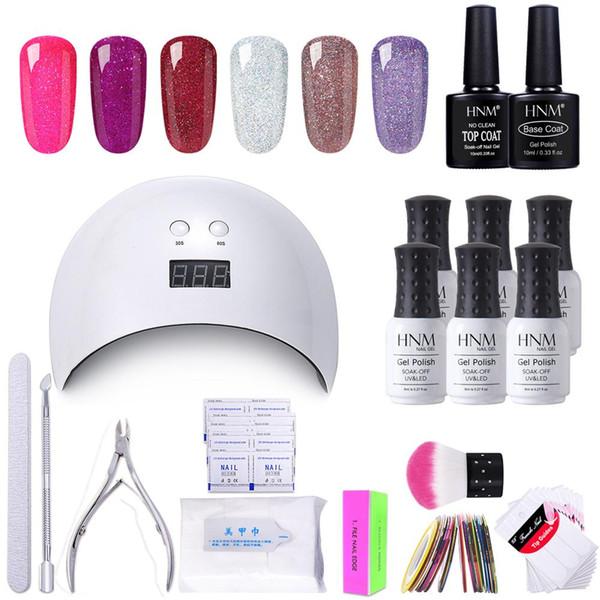 HNM 18pcs / kit set di strumenti per nail art con smalto per gel fai da te UV LED Remover lampada avvolge confezione di adesivi regalo vernice lacca set Gellak