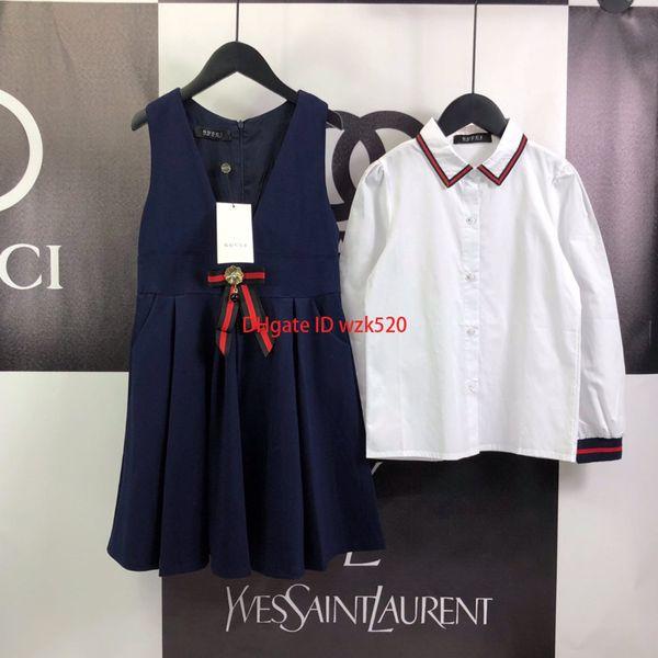 2019Girls bracelet robes ensembles enfants vêtements de marque chemise de couleur unie chemise + jupe de sangle 2pcs automne chemise ensembles