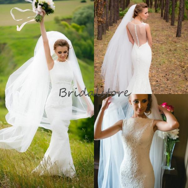 Elegant Country Mermaid Wedding Dresses High Neck Sleeveless Button Back Bridal Gowns White Lace Vintage Beach Wedding Dress robe de mariée