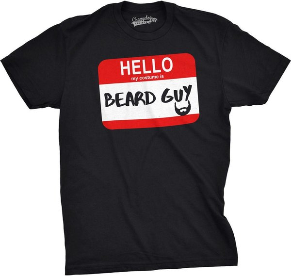 Mens Hello My Costume Is Beard Guy Funny Halloween Name Tag T shirt Classic Cotton Men Round Collar Short Sleeve