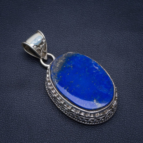 "natural lapis lazuli handmade unique 925 sterling silver pendant 1.5"" b3093"